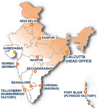Map showing location of offices in India